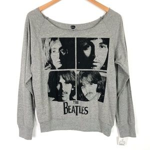 NWT The Beatles Wide Neck Long Sleeve Band T-Shirt